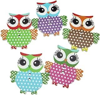 10 Pcs Mixed Owl Pattern Wooden Buttons Sewing Scrapbook Craft DIY Decor Tool qsbai