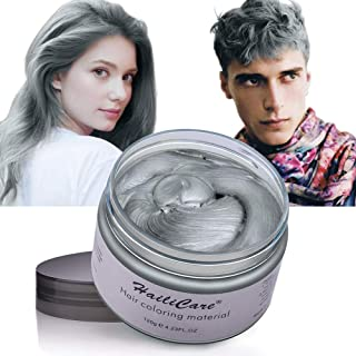 Color Hair Wax Hailicare Instant Hair Dye Washable Hair Color Cream Temporary for Men Women Kids (Silver Gray)