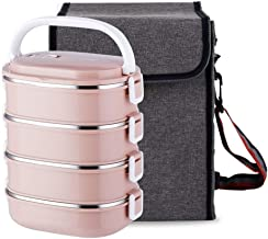 WCHCJ Update Stainless Steel Square Lunch Box, Lock Container Bag, Kids Students for A Office Snack Food Storage Boxes (4-...