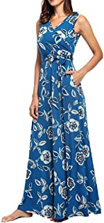 FSSE Women's Casual Slim Fit V-Neck Sundress Print Sleeveless Party Swing Maxi Long Dress