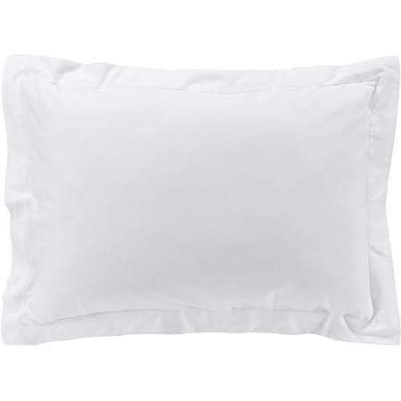 douceur d'intérieur Taie d'oreiller Volant plat 50 x 70 cm Percale uni Percaline Blanc