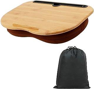 HAMILO ラップトップデスク 膝上 パソコンデスク 持ち運び ポーチ付 省スペース 膝上テーブル (ウッド)
