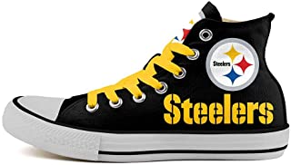 Pittsburgh Steelers Canvas Sneaker Lace Up Football Team Logo Shoes High Top Casual Sneaker Flat Classic Comfortable Walking Shoes for Unisex Adults