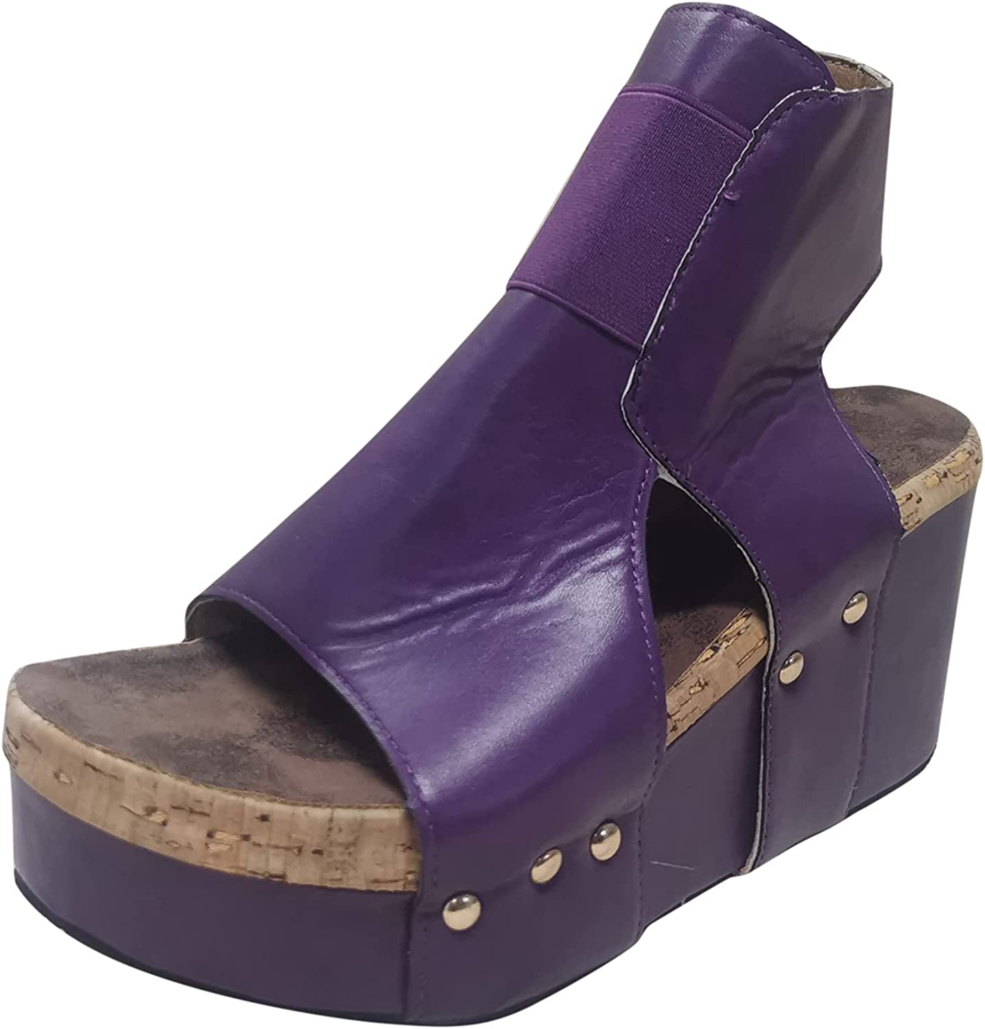Women's Vintage Peep Toe Wedge Sandals Hollow Out Round Toe Zip Up Casual Shoes