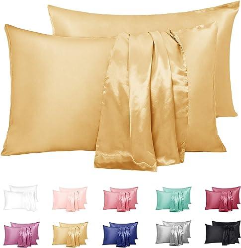 Duerer Lot de 2 taies d'oreiller en Satin, 100% Microfibre Housse d'oreiller Doux Prend Soin de Votre Peau et Antichu...