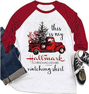 YourTops Women 3/4 Sleeve This is My Christmas Movie Watching Blouse Hallmark Shirt