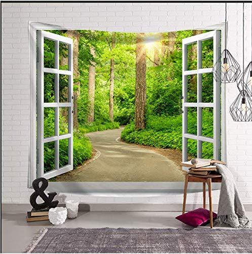 Landschaft im Außenbereich des Fensters, Dekoration, Strandtuch, Pflanzen, Blumen, Wandteppich, Wanddekoration, Wanddekoration, 150 x 200 cm