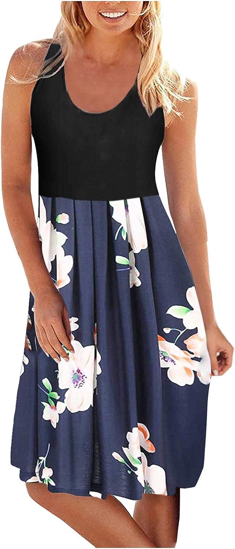 AHBG Women's Summer Fashion O-Neck Print Casual Sleeveless Beach Dress Short Dress