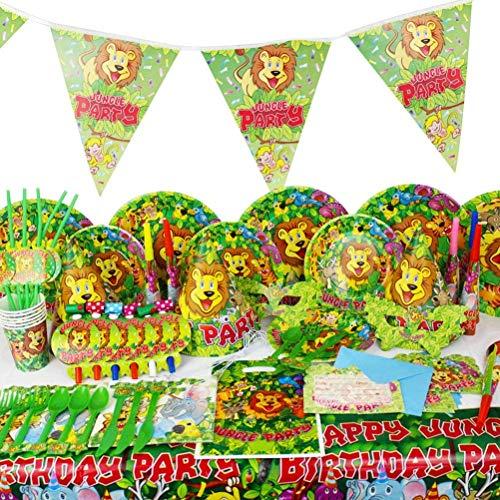 BETOY - Juego de 82 piezas para fiestas de animales de la jungla, cumpleaños, fiestas, mesa para platos de papel, servilletas, tenedores y cucharas
