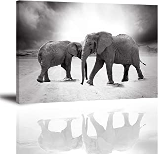 Elephant Wall Art for Living Room, PIY Modern Black and White Animals Decor Stretched with Frame, Two Elephants Walking Canvas Prints (1