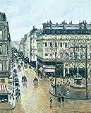 JH Lacrocon Camille Pissarro - Rue Saint-Honoré Tarde Lluvia Efecto Reproducción Cuadro sobre Lienzo Enrollado 70X90 cm - Pinturas Paesaggi Urbani Impresións Decoración Muro