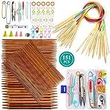 Coopay 75 Agujas de Tejer de Bambú de Doble Punta de 20 cm, 15 Tamaños (2,0 mm a 10 mm) y 18 Pares de Agujas Circulares, Tubo Multicolor de 80 cm (2,0 mm a 10 mm) para Manualidades Creativas
