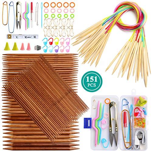 Coopay, set di ferri da maglia in bambù, con doppia punta dritta, include ferri corti a doppia punta, 20 cm, 80 cm, ferri da maglia circolari e accessori per maglieria