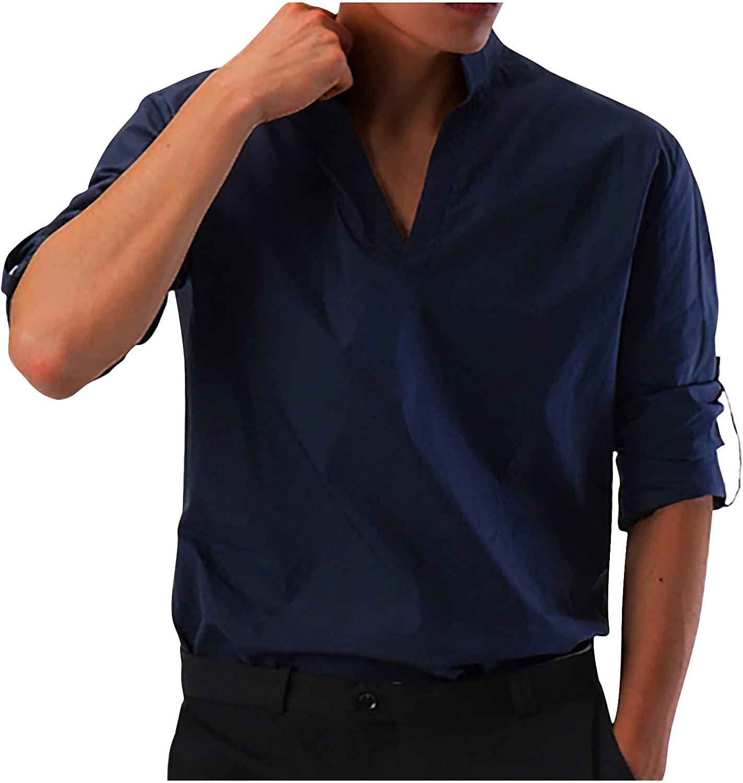 Bravetoshop Men's Long Sleeve Henley Shirt Casual Regular Fit Comfy Solid Color T-Shirt Tops