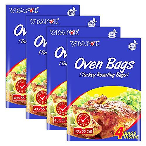WRAPOK Bratbeutel Kochen Ofen Taschen Kleine - 16 Stück (25 x 38 cm) Für Mikrowellen die Türkei Huhn Fleisch Geflügel Fisch Meeresfrüchte Gemüse