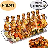yamisan Chicken Leg Wing Grill Rack - 14 Slots Stainless Steel Roaster Stand with Drip Pan, BBQ Chicken Drumsticks Rack for Smoker Grill or Oven