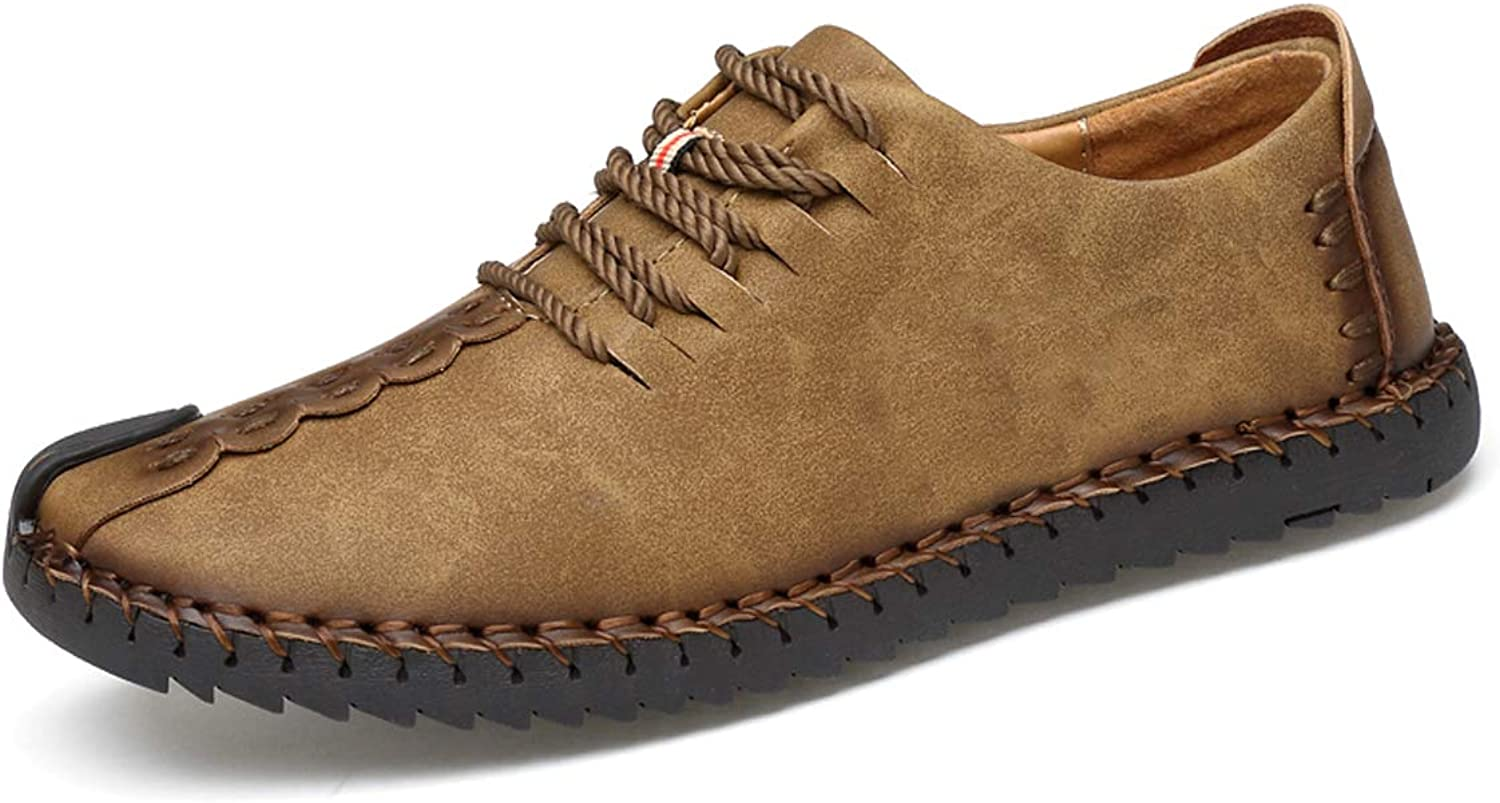 TUCSSON Men's Handmade Suede Leather Oxford shoes British Style Flats Lace-up Loafers Casual Sneakers