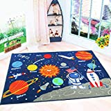 HEBE Kids Rugs Non Skid Washable Children Educational Learning Carpet for Playroom Bedroom Solar System Large Area Rug Blue 3.3' x 4.3' (Stars)