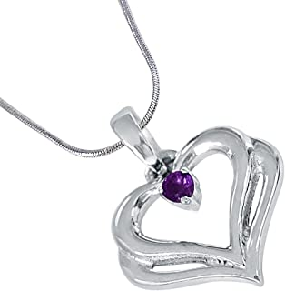 Jewelryonclick Sterling Silver Real Amethyst Pendant for Women Astrological Charm Chakra Healing Handmade