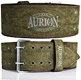 Aurion Genuine Leather Pro Weight Lifting Belt For Men And Women Durable Comfortable & Adjustable With Buckle | Stabilizing Lower Back Support For Weightlifting (Olive Green, Xl), Olive Green