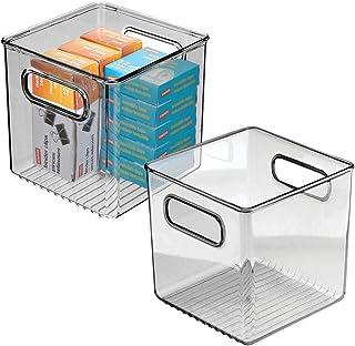 mDesign boite stockage pour la cuisine, salle de bain, bureau (lot de 2) – boite rangement en plastique avec poignées inté...