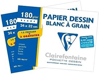 Clairefontaine 196177AMZC - Un lot de 2 pochettes Dessin à grain blanc 15 feuilles (12 + 3 gratuites) 24x32 cm 180g
