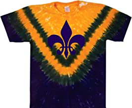 Tie Dyed Shop Fleur-De-Lis Tie Dye T Shirt - New Orleans Mardi Gras Colors