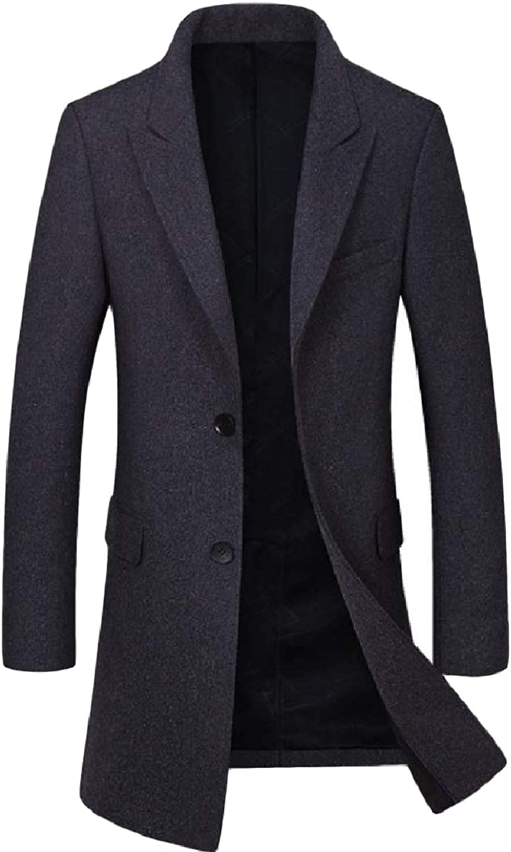 Abetteric Mens Solid Pocket Slim Button Mid-Long Lapel Merino Woolen Coat