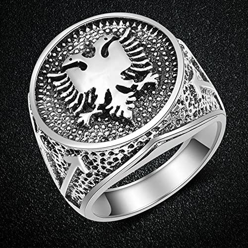 liuliu Europäische Albanien Flagge Logo Ring Doppelköpfiger Adler Ring Männer Schmuck Alter Vintage Ring Party Geburtstag Fre&