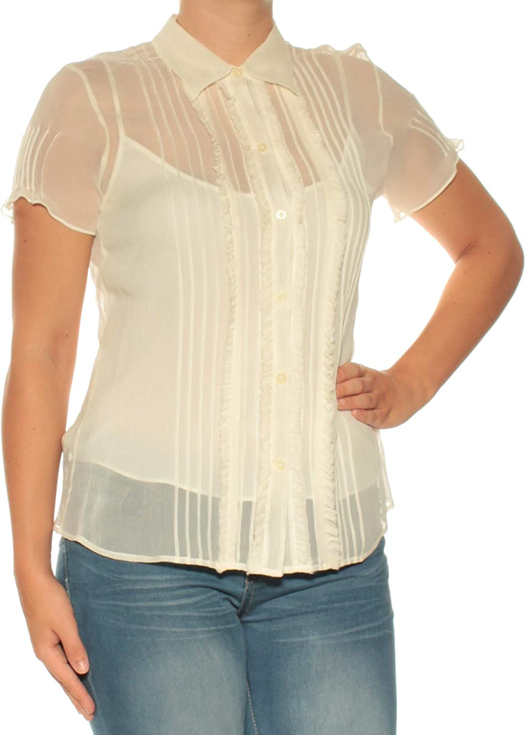 Ralph Lauren Womens Ivory Pleated Ruffled Short Sleeve Collared Button Up Top US Size  4