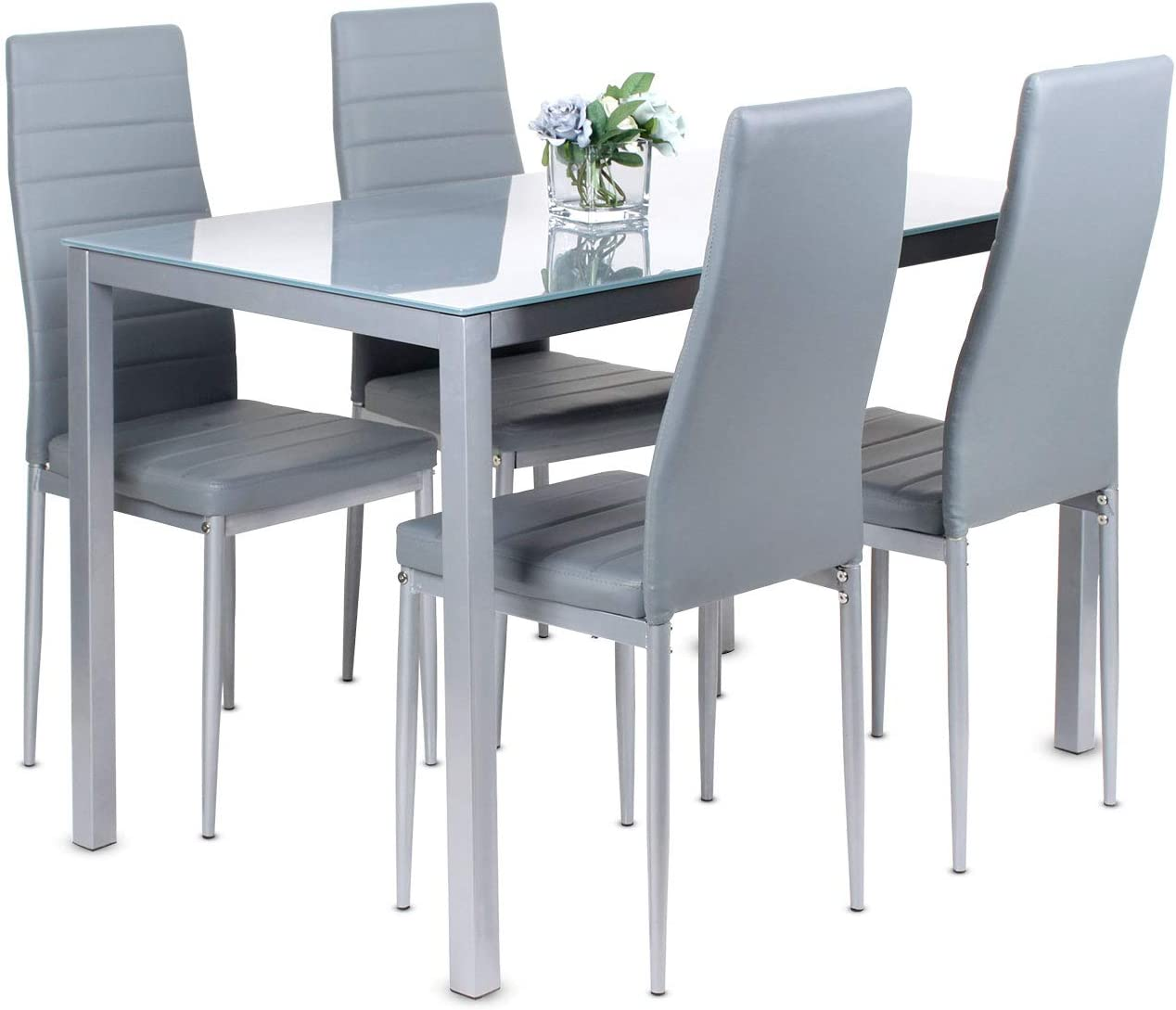 jeffordoutlet Dining Table and Chairs Set of 9 Leather Kitchen Chairs with  Tempered Glass Table,Compact Grey Dining Room Furniture Set