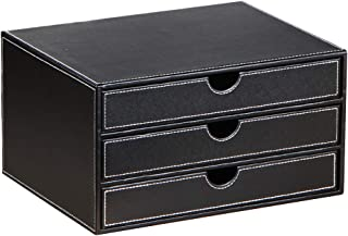 Leather Desk Organizer with 3 Drawers, Executive Office Supplies Desktop Filing A4 File Cabinet/Holder, Stackable Storage ...