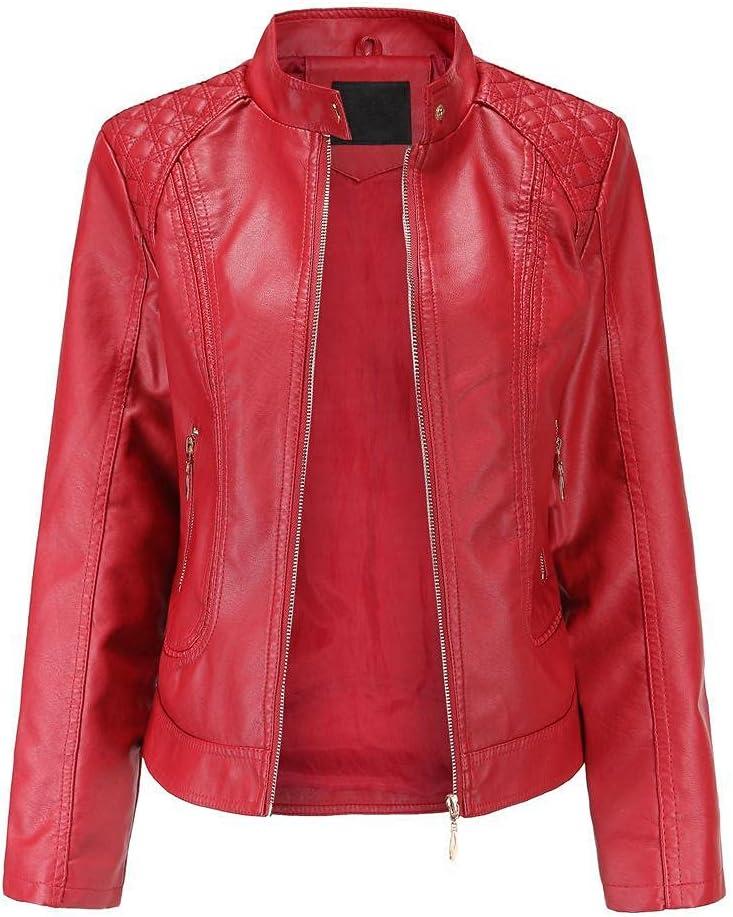 Women's PU Leather Jacket Large Size Fashion Stand Collar Jacket Motorcycle Jacket