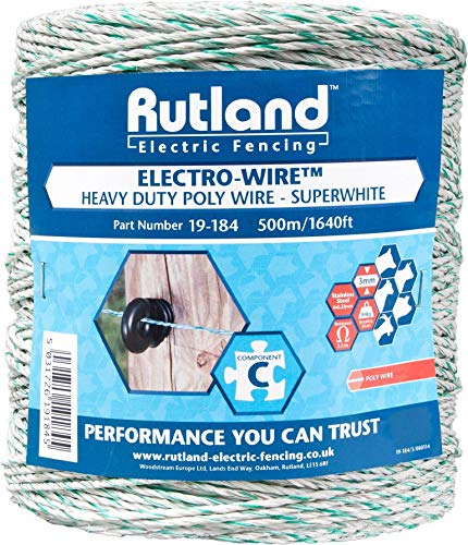Rutland, Filo per recinto elettrico Super White, 500 m, 19-184R