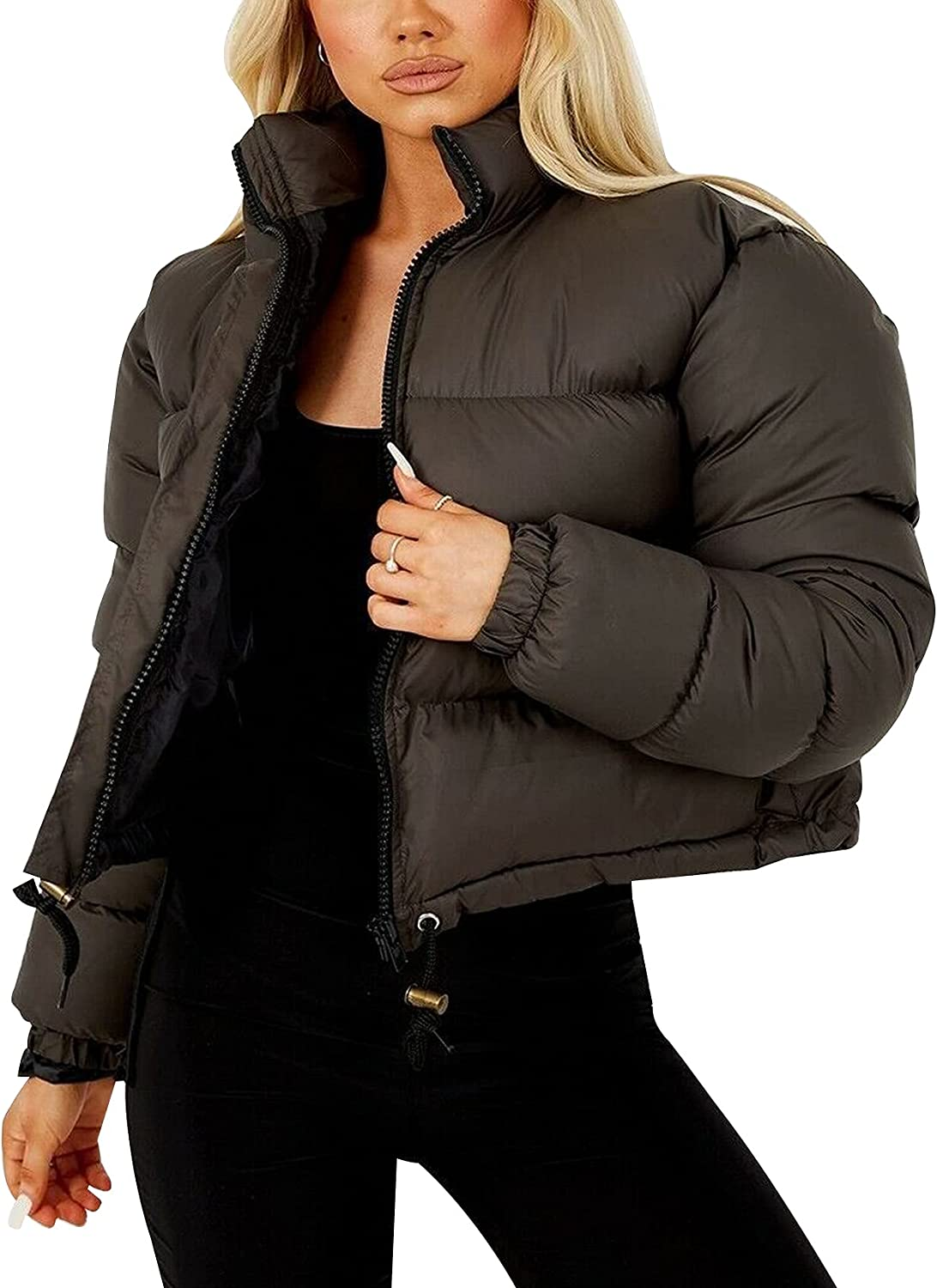 Gihuo Women's Winter Baggy Cropped Quilted Puffer Jacket Outwear Coat