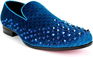 AFTER MIDNIGHT 6868 Mens Velvet Smoker Shoe with Checkered Velvet and Studs