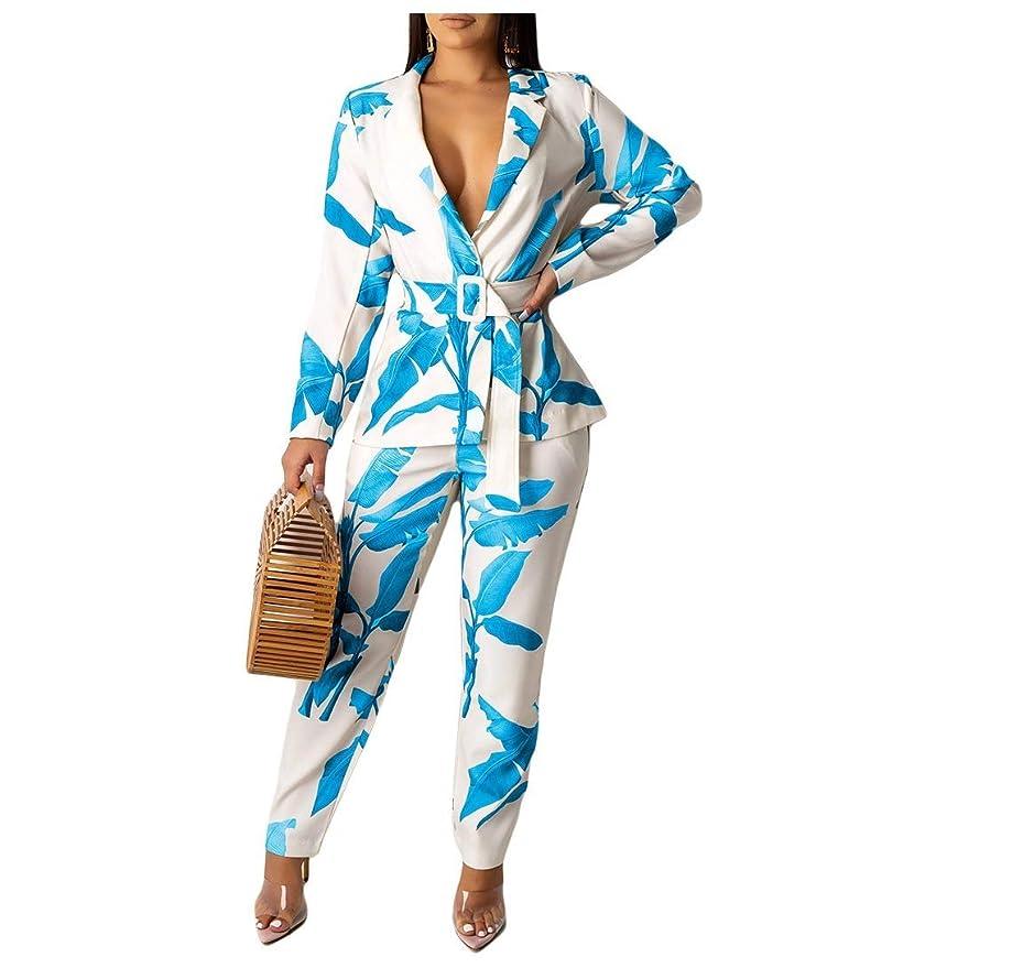 調和変換取り戻すFenshuda Womens Print Casual Belted Blazer and Long Pants Two-piece Suit