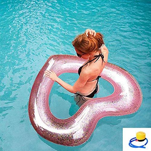 SXC Transparent Herz mit Rosa Pailletten Schwimming Luftmatratze Pool Inflatables Floats Raft Strandspielzeug,Schwimmring Für Erwachsene Kinder