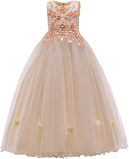 Surprise S Champagne Color Kids Princess Wedding Gown Summer Girl Dress Long Tulle Teen Party Children Clothing