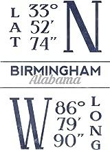 Birmingham, Alabama - Latitude and Longitude (Blue) 66758 (24x36 SIGNED Print Master Art Print - Wall Decor Poster)