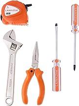 طقم أدوات يحتوي على مفاتيح عدة من 5 مقاسات، مفكات براغي، شريط قياس وكماشة، لون برتقالي/ فضي
