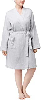 Women's Plus Size Short Knit Robe, Dove Grey, 2X