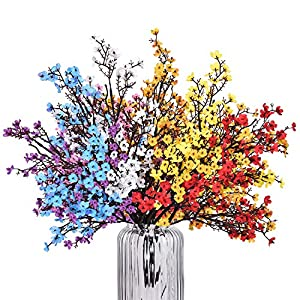 """Baby Breath Gypsophila Artificial Flowers, Babies Breath Flowers Bush Artificial Gypsophila Silk Silica Real Touch Blooms for Wedding Bridal Party DIY Home Floral Arrangement Decor, 7 Bundles, 19.7"""""""