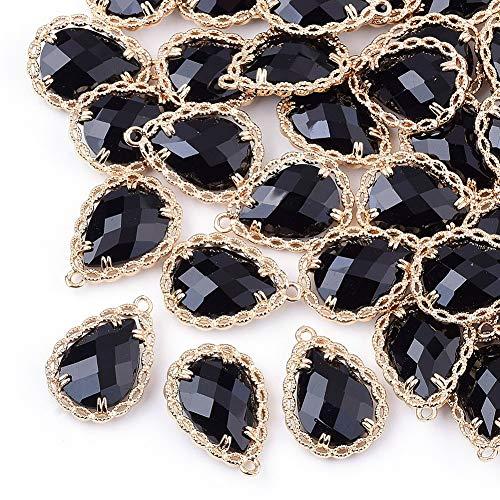 Cheriswelry 50 colgantes de cristal facetado con forma de lágrima, cuentas de cristal transparente, bisel de latón dorado para joyas, pulseras, pendientes, color negro