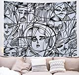 TRUE FEELING Black and White Abstract Wall Hanging Tapestry Home Decor for Dorm Curtain College Livingroom Bedroom Tapestries Aesthetic Tapestry(59.1x51.2 ,78.8x59.1inches)