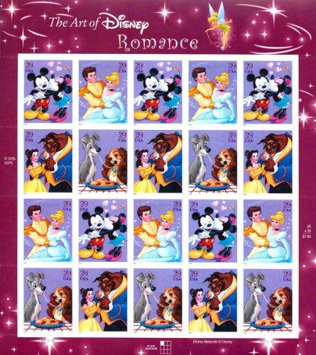 Art of Disney: Romance, Full Sheet of 20 x 39-Cent Stamps, USA 2006, Scott 4025-28