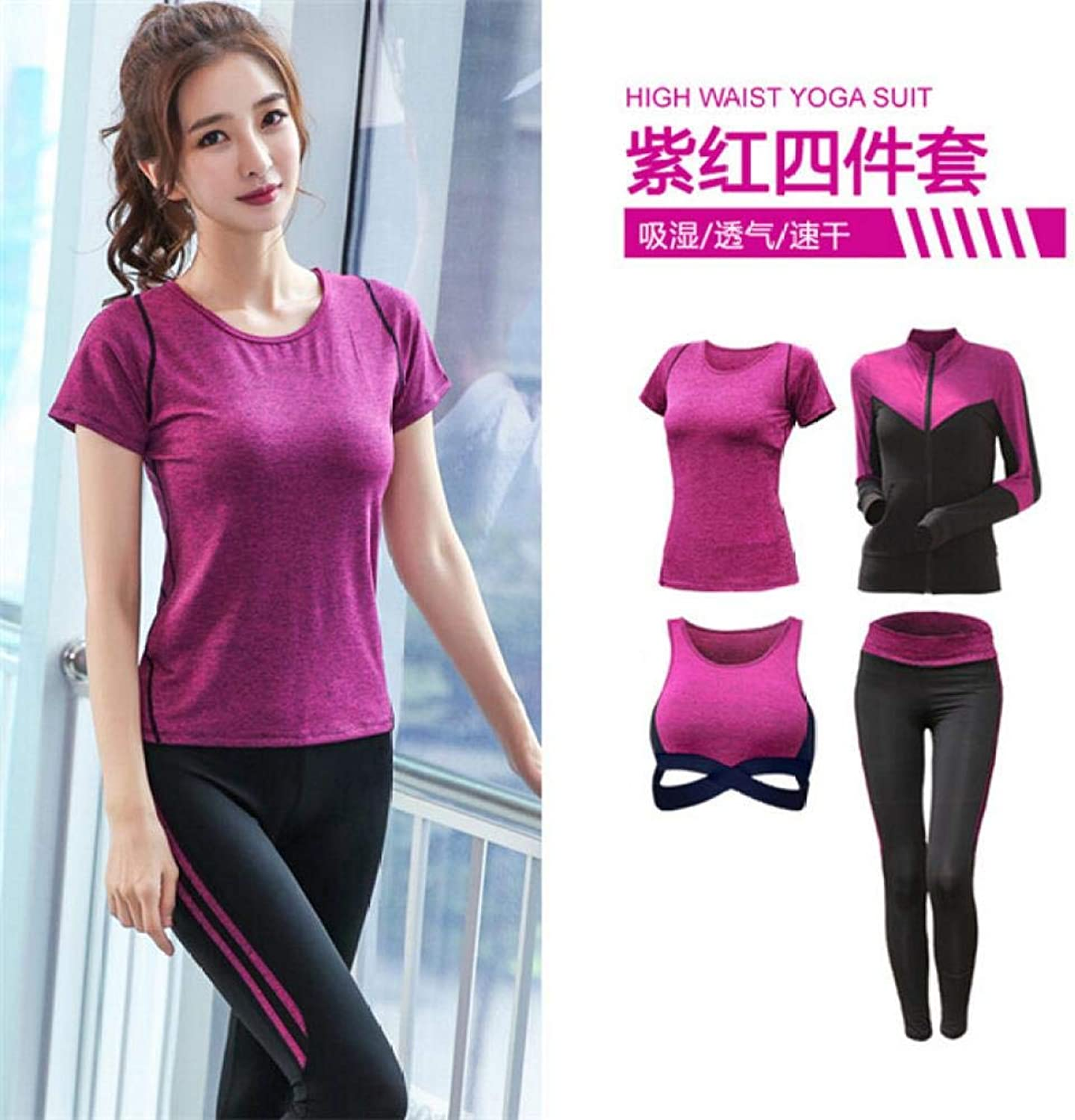 YANGCONG Yoga Fitness Bekleidung 5-Piece Jacket + T-Shirt + Bra + Shorts + Tights Female Yoga Suit Fast-Dry Outdoor Sports Running Fitness Exercise 4 Piece Set d XXL