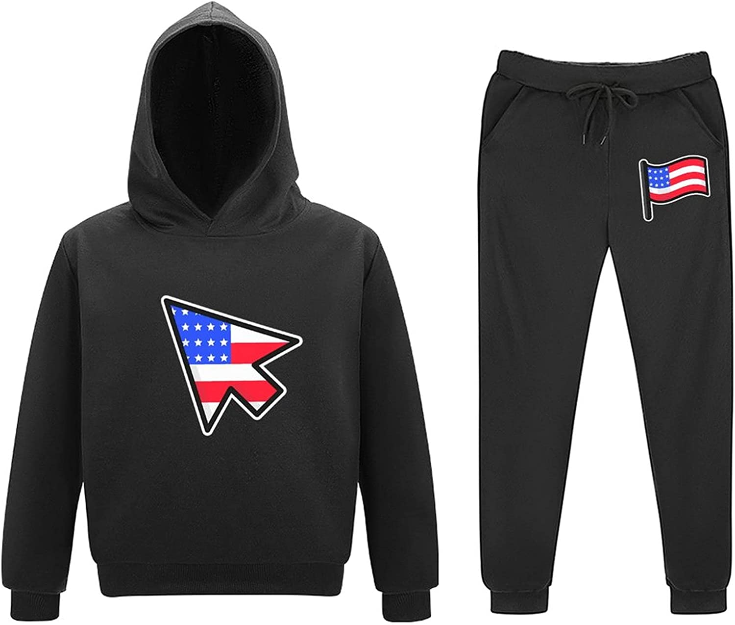 Country Flag Kids Sweater Set Sports Style Hooded Sweatshirt and Trousers Set Funny and Cute Print Comfortable Fabric
