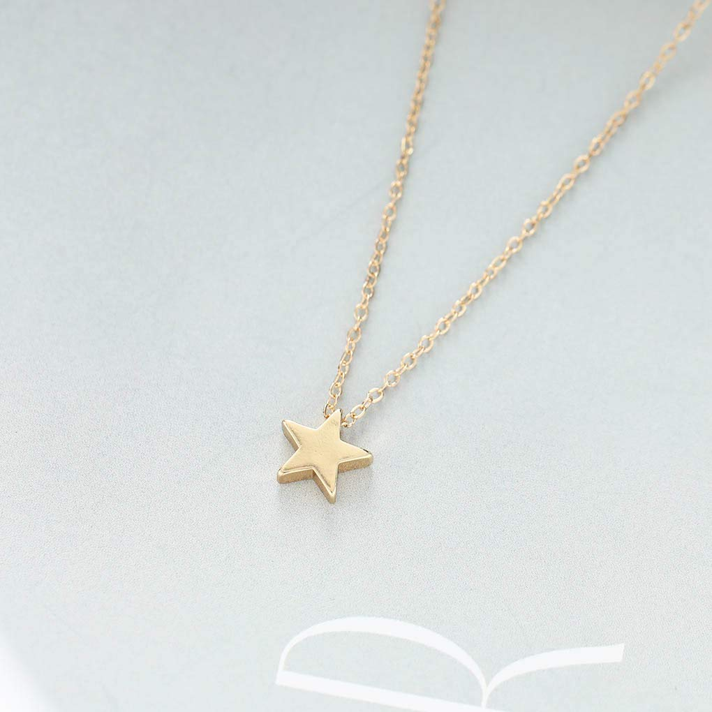 Yfe Simple Star Choker Necklace Gold Star Pendent Necklaces for Women and Girls Tiny Charm Necklace Jewelry (Star-Gold)