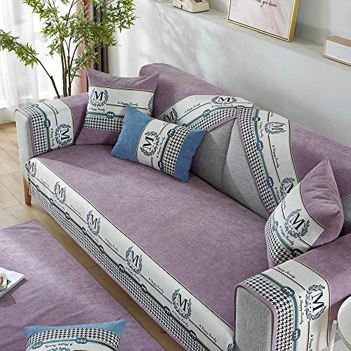 kinfuki Housse Canapé d'angle Couverture de Canapé en Forme de L avec Revêtement Canapé en Tissu,Coussin de canapé en Tissu Universel, Violet_90 * 180